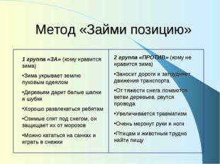 Метод «Займи позицию» 1 группа «ЗА» (кому нравится зима) Зима укрывает землю