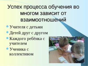 Успех процесса обучения во многом зависит от взаимоотношений Учителя с детьми