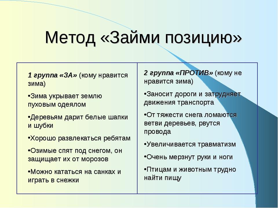 Метод «Займи позицию» 1 группа «ЗА» (кому нравится зима) Зима укрывает землю...