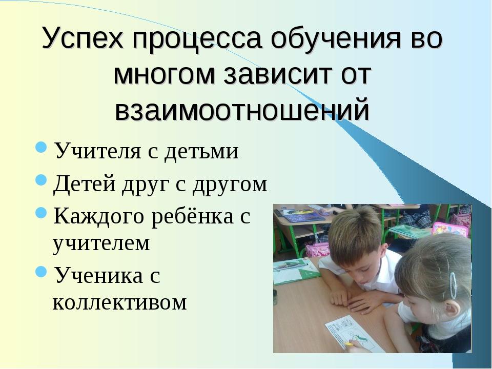 Успех процесса обучения во многом зависит от взаимоотношений Учителя с детьми...