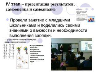 IV этап – презентация результатов, самооценка и самоанализ Провели занятие с