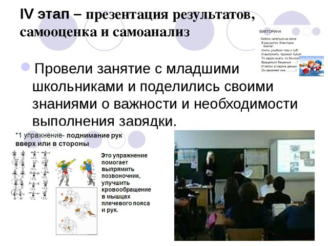 IV этап – презентация результатов, самооценка и самоанализ Провели занятие с...