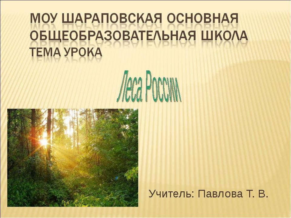 Учитель: Павлова Т. В.