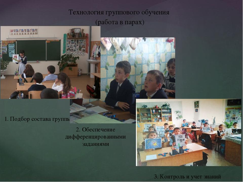 Технология группового обучения (работа в парах) 1. Подбор состава группы 2. О...
