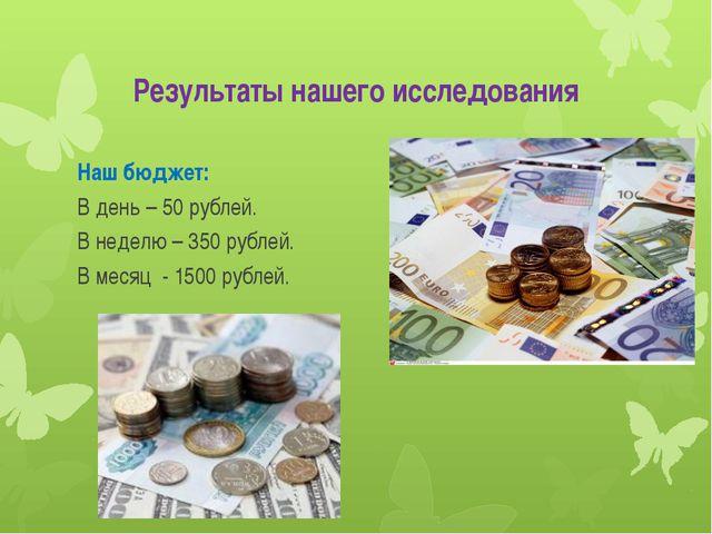 Результаты нашего исследования Наш бюджет: В день – 50 рублей. В неделю – 350...