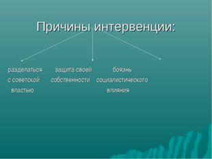 Причины интервенции: разделаться защита своей боязнь с советской собственност