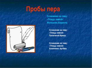 Сочинение на тему: «Птицы зимой» Железняк Кирилла Пробы пера Сочинение на тем
