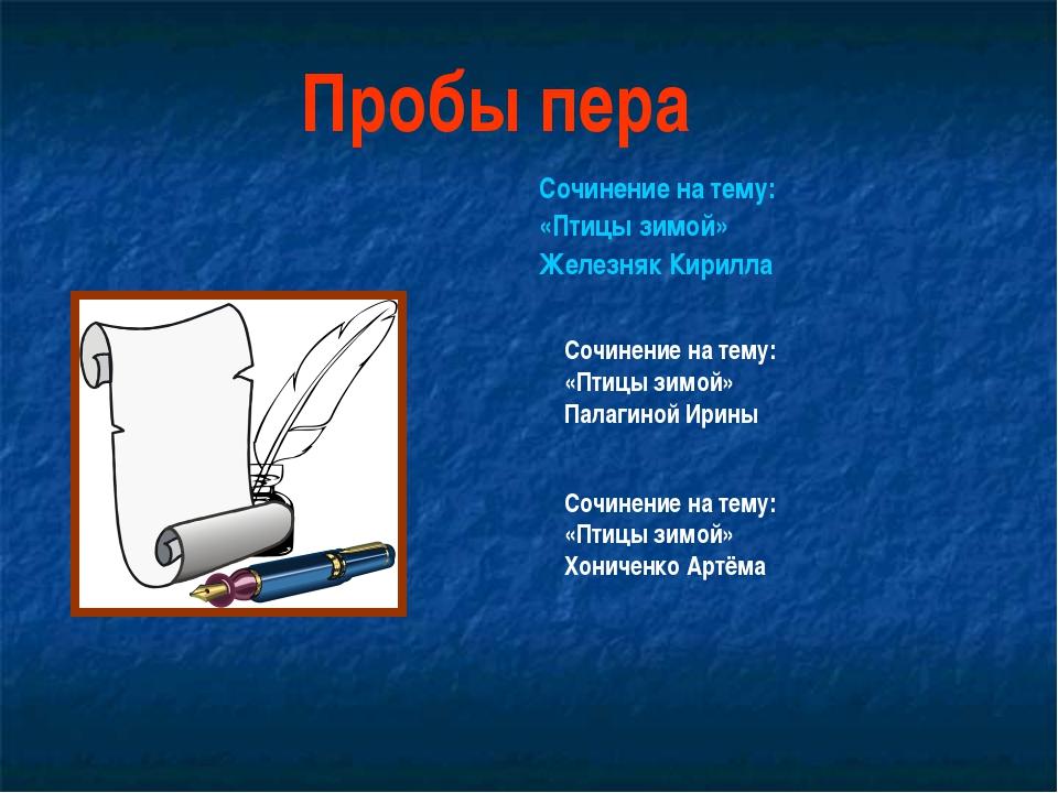 Сочинение на тему: «Птицы зимой» Железняк Кирилла Пробы пера Сочинение на тем...