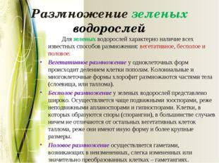 Размножение зеленых водорослей Для зеленых водорослей характерно наличие все