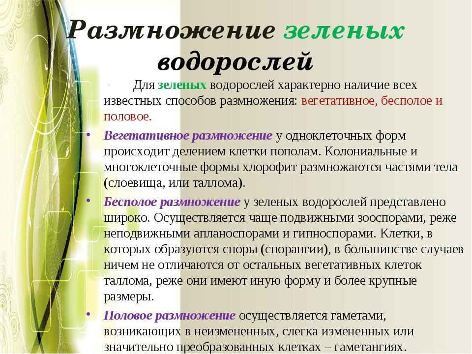 Размножение зеленых водорослей Для зеленых водорослей характерно наличие все...