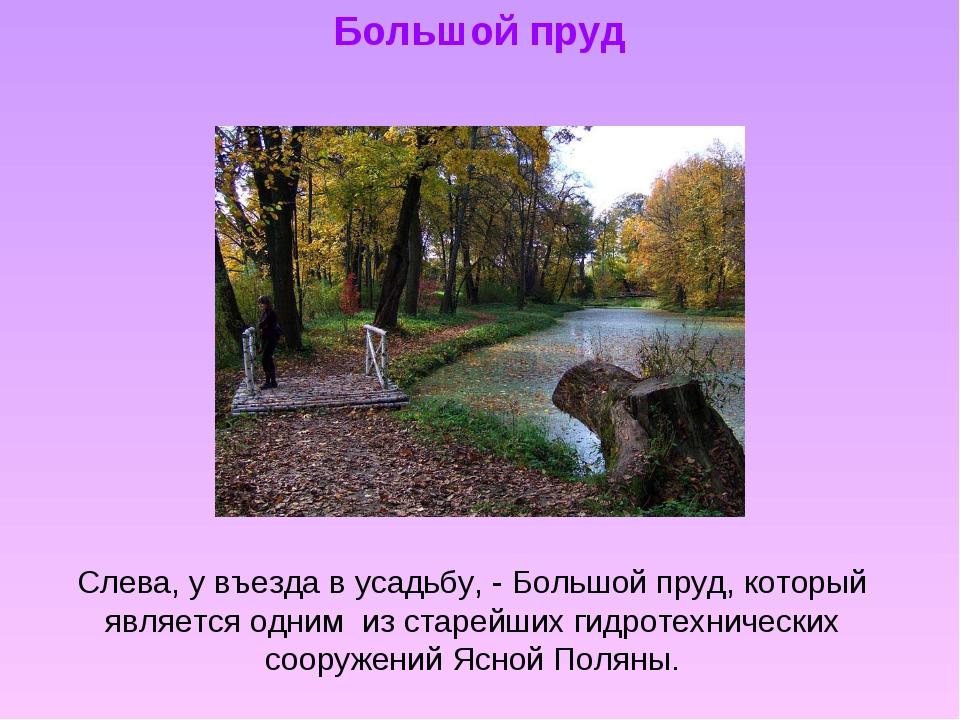 Большой пруд Слева, у въезда в усадьбу, - Большой пруд, который является одни...