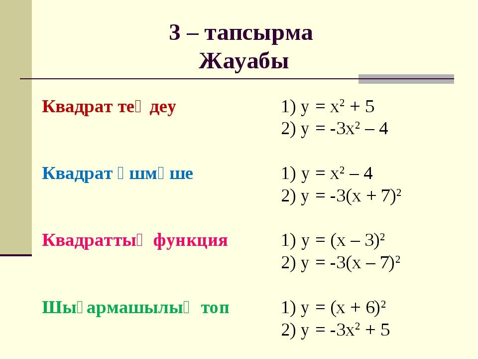 Квадрат теңдеу 1) у = х2 + 5 2) у = -3х2 – 4 Квадрат үшмүше1) у = х...