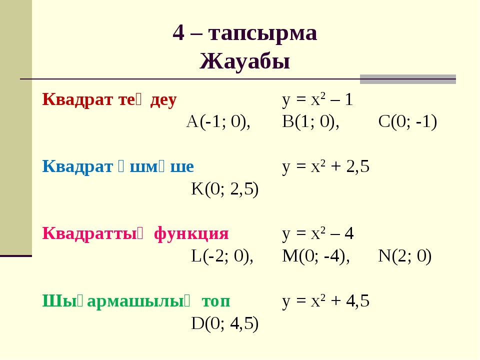 4 – тапсырма Жауабы Квадрат теңдеу у = х2 – 1 А(-1; 0),В(1; 0),С(0; -...