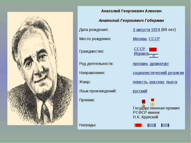 Анатолий Георгиевич Алексин Анатолий ГеоргиевичГоберман Дата рождения: 3авгу...