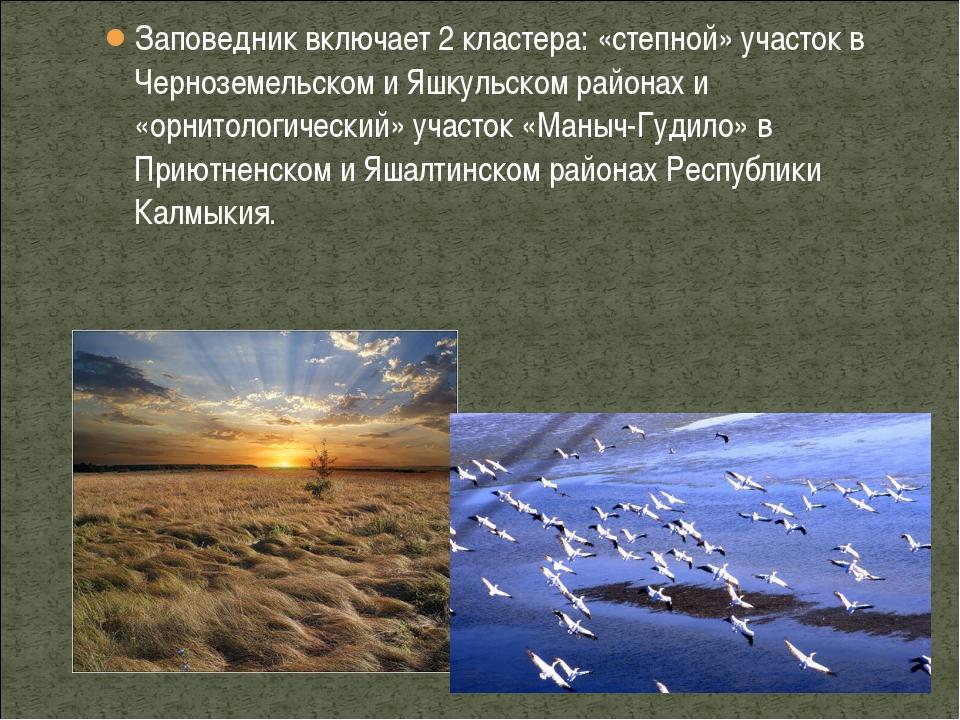 Заповедник включает 2 кластера: «степной» участок в Черноземельском и Яшкульс...