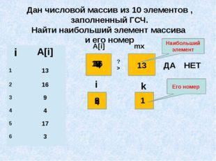 Дан числовой массив из 10 элементов , заполненный ГСЧ. Найти наибольший элеме