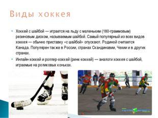 Хоккей с шайбой — играется на льду с маленьким (180-граммовым) резиновым диск