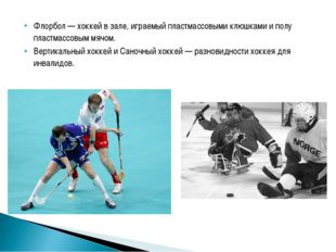 Флорбол — хоккей в зале, играемый пластмассовыми клюшками и полу пластмассовы