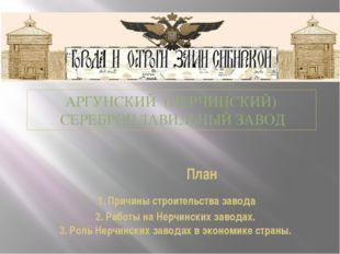 План 1. Причины строительства завода 2. Работы на Нерчинских заводах. 3. Рол