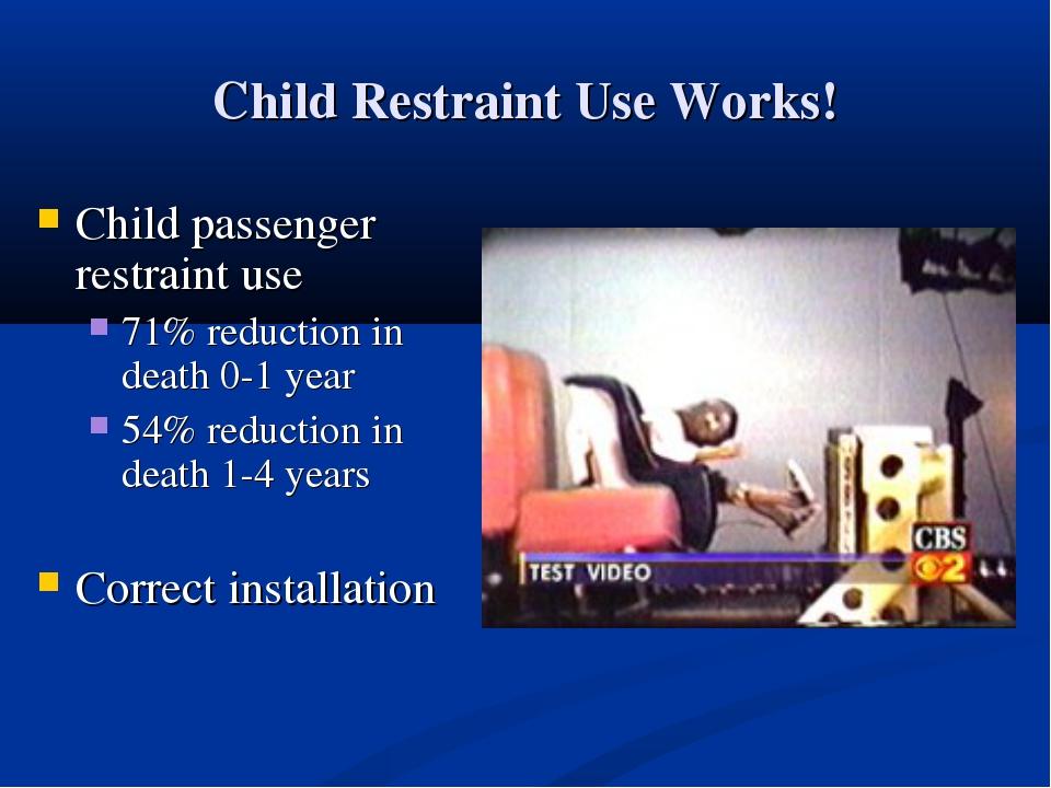 Child Restraint Use Works! Child passenger restraint use 71% reduction in dea...