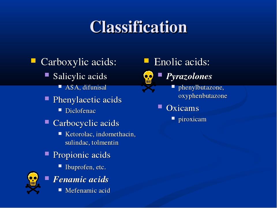 Classification Carboxylic acids: Salicylic acids ASA, difunisal Phenylacetic...