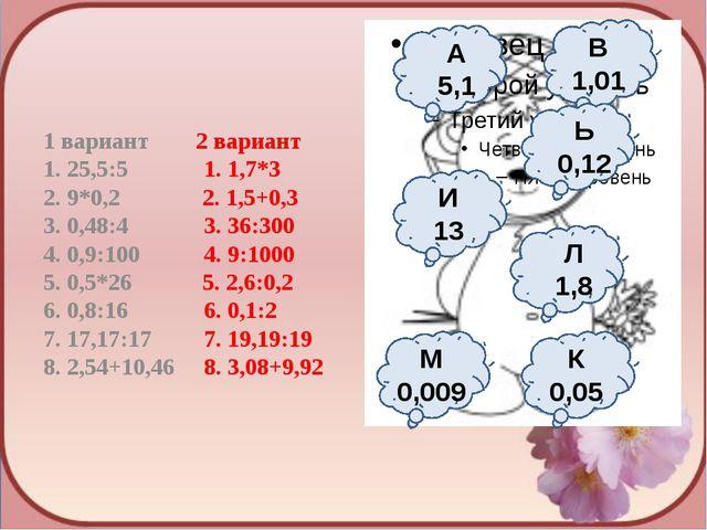 1 вариант 2 вариант 1. 25,5:5 1. 1,7*3 2. 9*0,2 2. 1,5+0,3 3. 0,48:4 3. 36:30...