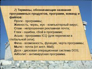 2) Термины, обозначающие названия программных продуктов, программ, команд и