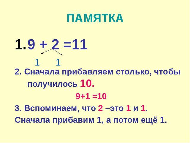 ПАМЯТКА 9 + 2 =11 2. Сначала прибавляем столько, чтобы получилось 10. 9+1 =10...