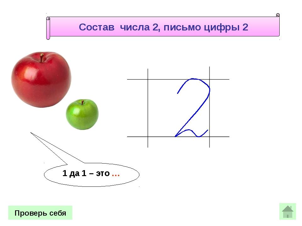 1 да 1 – это … Проверь себя Состав числа 2, письмо цифры 2