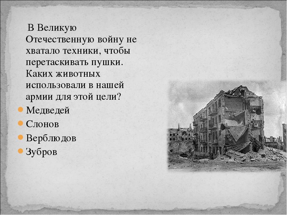 В Великую Отечественную войну не хватало техники, чтобы перетаскивать пушки....