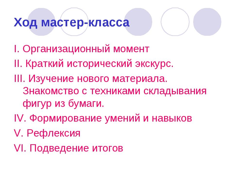 Ход мастер-класса I. Организационный момент II. Краткий исторический экскурс....