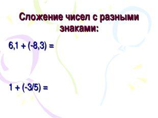Сложение чисел с разными знаками: 6,1 + (-8,3) = 1 + (-3/5) =