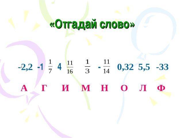 «Отгадай слово» -2,2-14-0,325,5-33 А Г И М Н О Л Ф