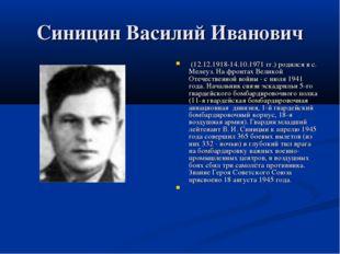 Синицин Василий Иванович (12.12.1918-14.10.1971 гг.) родился в с. Мелеуз. На