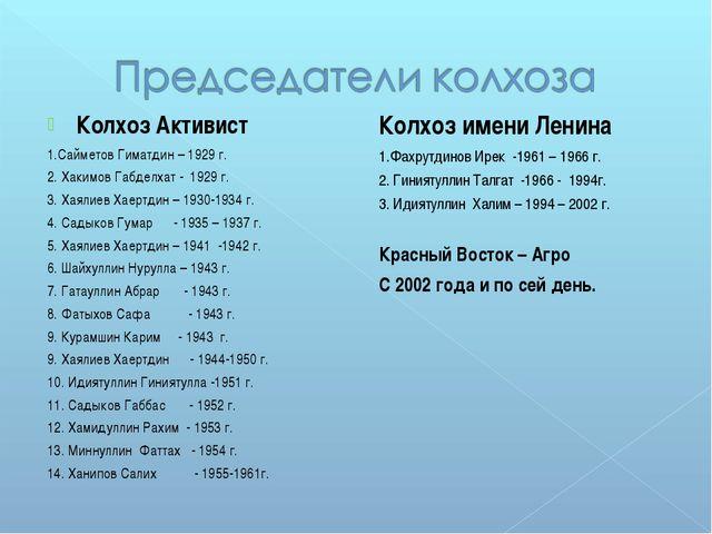 Колхоз Активист 1.Сайметов Гиматдин – 1929 г. 2. Хакимов Габделхат - 1929 г....
