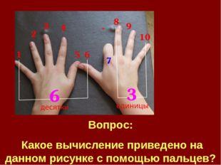 Вопрос: Какое вычисление приведено на данном рисунке с помощью пальцев?