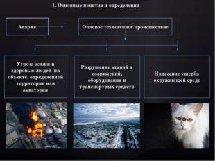 1. Основные понятия и определения Авария Опасное техногенное происшествие Угр