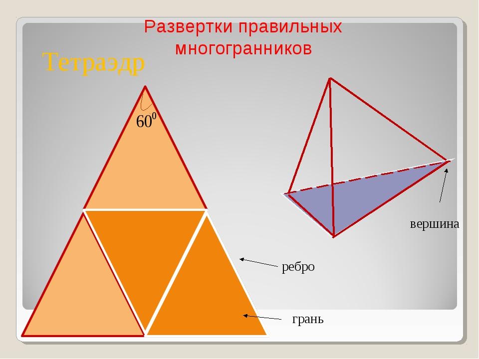 вершина ребро грань Тетраэдр Развертки правильных многогранников