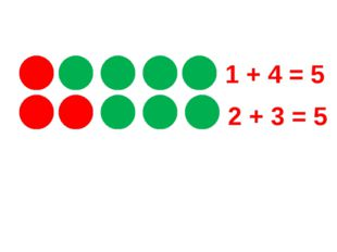 1 + 4 = 5 2 + 3 = 5