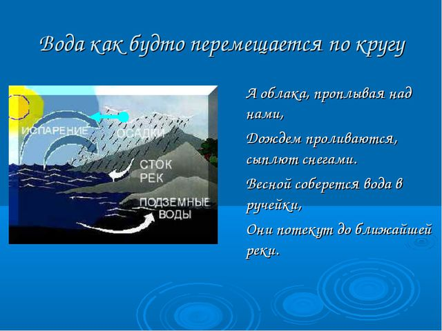 Вода как будто перемещается по кругу  А облака, проплывая над нами, Дождем...
