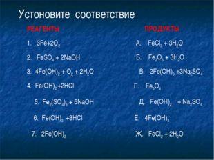 1. 3Fe+2O2 Устоновите соответствие 2. FeSO4 + 2NaOH 3. 4Fe(OH)2 + O2 + 2H2O 4