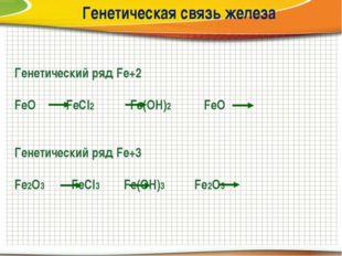 Генетическая связь железа Генетический ряд Fe+2 FeО FeCl2 Fe(OH)2 FeO Генетич