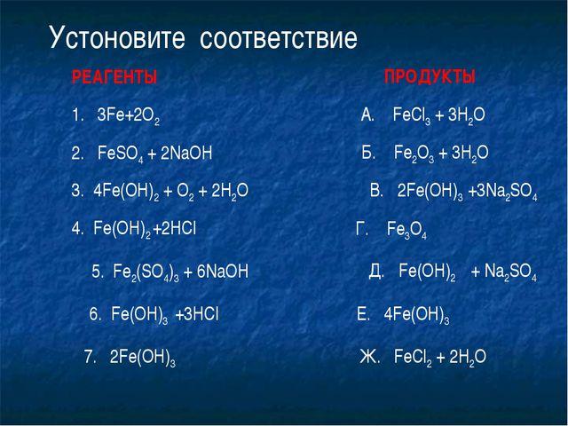 1. 3Fe+2O2 Устоновите соответствие 2. FeSO4 + 2NaOH 3. 4Fe(OH)2 + O2 + 2H2O 4...