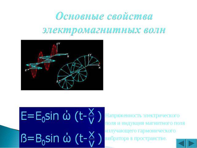 Напряженность электрического поля и индукция магнитного поля излучающего гарм...