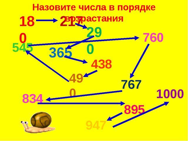 180 217 290 365 438 490 760 767 834 895 947 1000 545 Назовите числа в порядке...