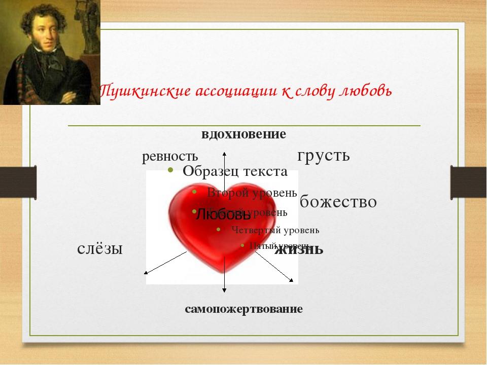 Пушкинские ассоциации к слову любовь вдохновение ревность грусть божество сл...