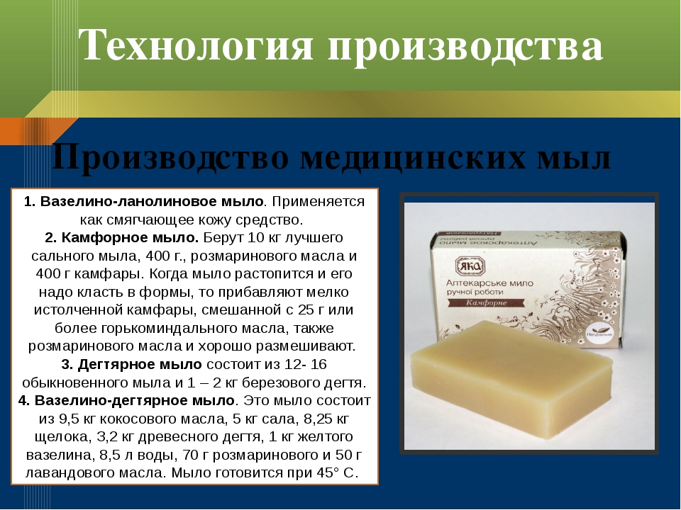 Технология производства Производство медицинских мыл 1. Вазелино-ланолиновое...