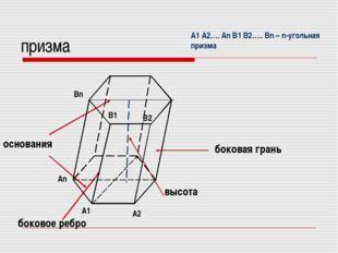 призма основания боковая грань высота боковое ребро A1 An A2 В1 Вn В2 A1 A2….