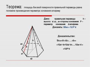 Теорема: площадь боковой поверхности правильной пирамиды равна половине произ