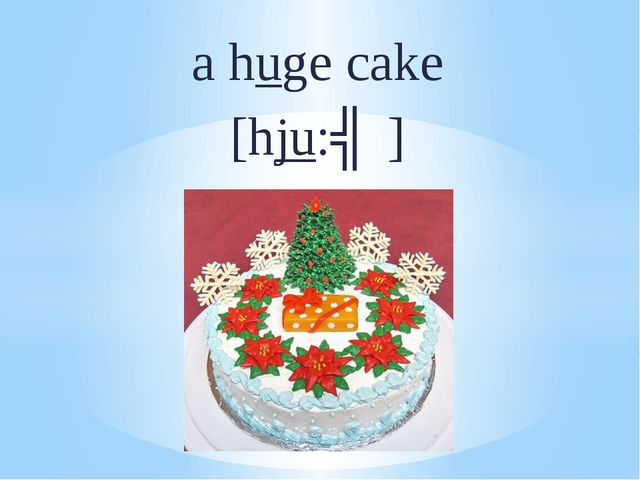a huge cake [hju:ʤ]